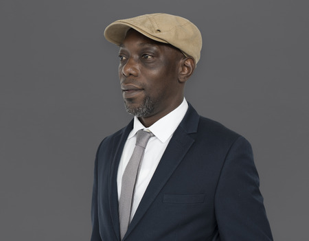 African Descent Man Hat Side Concept Stock Photo