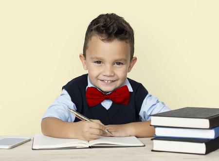 Little Boy Studious Smart Smile