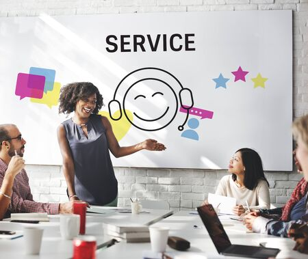 Group of people with illustration of contact us online customer services Stok Fotoğraf