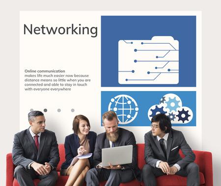 네트워크 연결 그래픽 오버레이 배경 벽에 광고 판