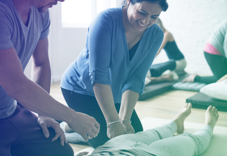Group of people massage training course