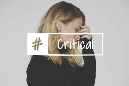 Woman with Critical Feeling Expression Emotion Word Hashtag Graphic