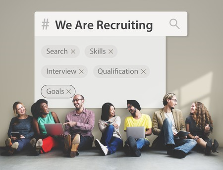 Recruitment employment search engine tags Stock Photo