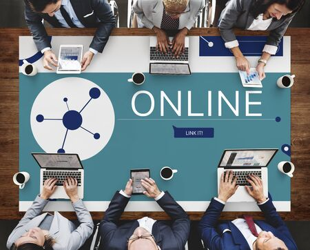 People connected with Illustration of social media online communication