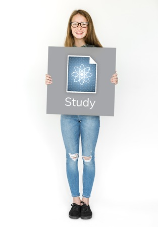 Woman Holding Poster with a Study Concept Graphic