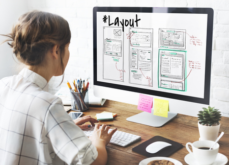 Website development layout sketch drawing Stock Photo
