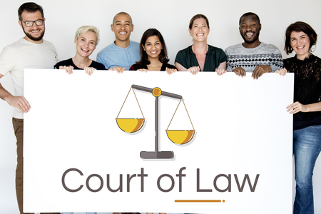 People with Illustration of justice scale rights and law