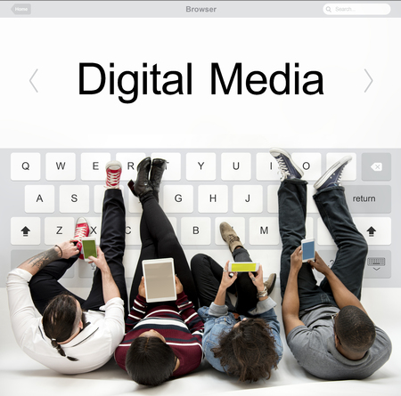 People using smartphones network graphic overlay background on floor Фото со стока - 82093111