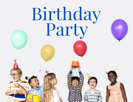 Group of children celebrate the party