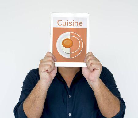 Illustration of healthy food cuisine menu recipe on digital tablet