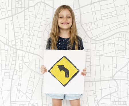 uturn: Young girl holding network graphic overlay banner
