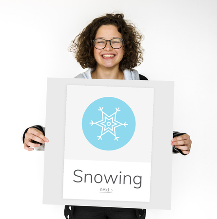 Snow Flake Frost Winter Season Weather Forecast Graphic Stock Photo