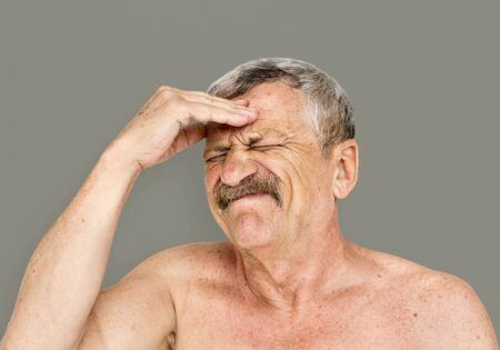 Senior Adult Man Face Expression Feeling Studio Portrait Stock Photo
