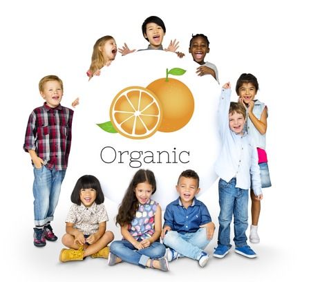 Children with Illustration of fresh organic orange Stock fotó