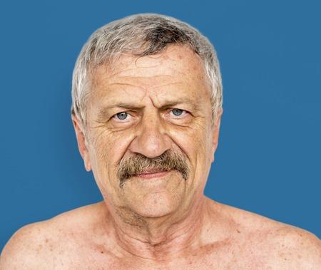 Senior Adult Man Serious Face Expression Feeling Studio Portrait