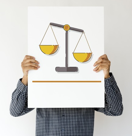 Man holding banner of justice scale rights and law illustration