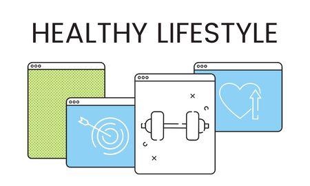 건강한 라이프 스타일 건강 웹 사이트 홈페이지 신청 스톡 콘텐츠 - 82184834