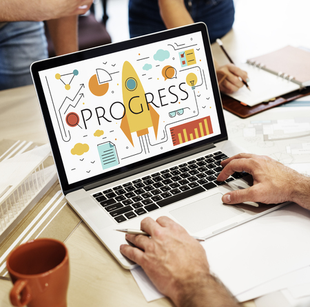 taking notes: Business Objectives Goals Progress Improvement Concept Stock Photo