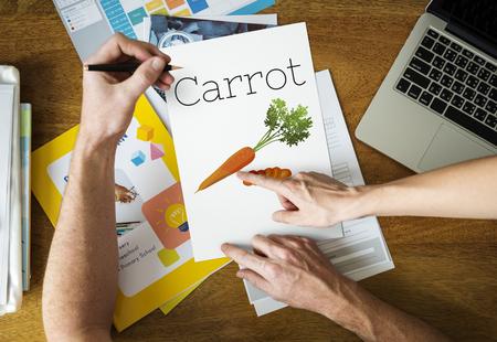 栄養価の高い人参健康食品のイラスト