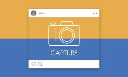 카메라 아이콘 그래픽이있는 소셜 미디어 스톡 콘텐츠 - 82259716