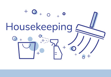 Illustration of home cleaning service commercial Stok Fotoğraf