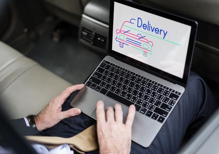 Illustration of automotive car rental transportation on laptop Stock Illustration - 82188636