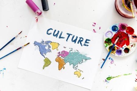 美術の授業と描画地図世界地図