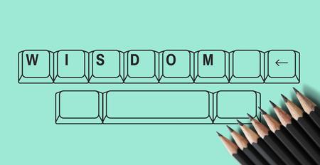 Online education pencil and keyboard graphic Reklamní fotografie