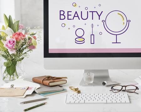 Illustration der Schönheit Kosmetik Hautpflege auf Computer Standard-Bild - 82196158