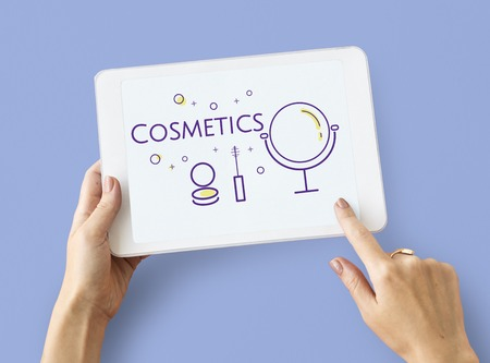 Illustration of beauty cosmetics makeover skincare on digital tablet Stock fotó - 82280950