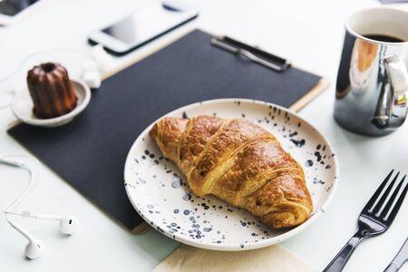 Fresh croissant bakery pastry bread