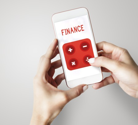 Illustration of financial trading investment calculating on mobile phone Stock Photo