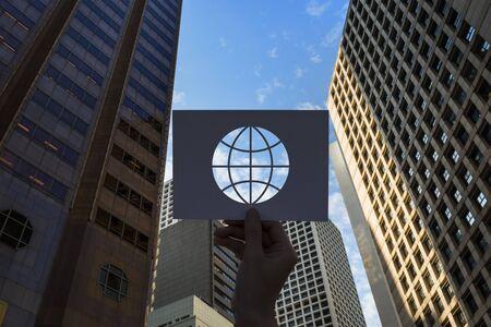 세계화 네트워크 기술 천공 종이 글로브 스톡 콘텐츠