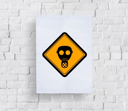 paper sheet: Radioactivity Protection Mask Sign Attention Banner Put in Concrete Wall