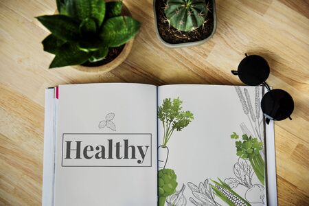 Illustration of vegetable and healthy eating lifestyle Stok Fotoğraf