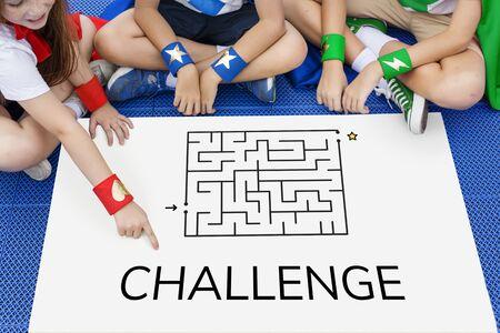 Superhero kids solving enigma concept together 版權商用圖片