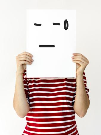 Illustration of awful sadness face on banner 版權商用圖片