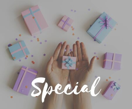 Special For You Gift Celebration Word Graphic Stock Photo