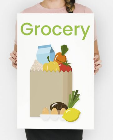 Illustration of paper bag full of grocery