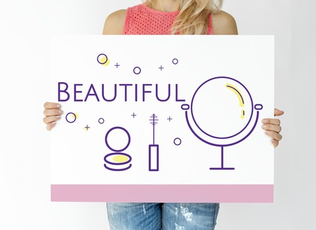 Woman holding illustration of beauty cosmetics makeover skincare banner Stock fotó - 82194651