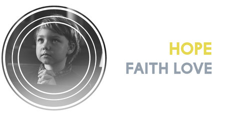 Little Boy Believe Faith Hope Trust Pray Graphic Word