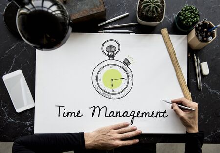 Illustration of stopwatch time management personal organizer Banco de Imagens