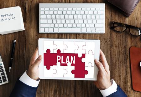 Plan Target Aspiration word puzzle maze Banco de Imagens