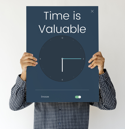 Time is valuable and clock icon graphic Stock Photo