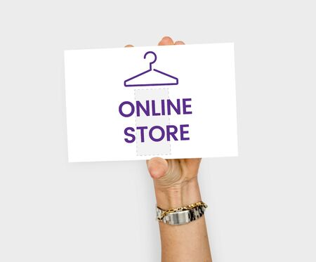 clothing store: Illustration of fashionista online shopping store