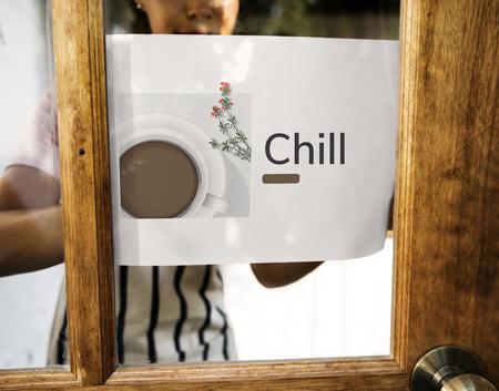 배너에 커피 컵 장식 카페 상업의 그림