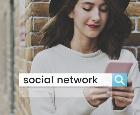 techie: Social Media Network Online Community Search Box Magnifying Glass Graphic