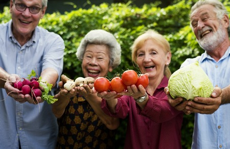 Diverse senior people holding vegetables in their hands Stock Photo