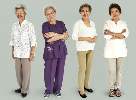 Group of Asian Adult Women People Set Studio Isolated Stok Fotoğraf