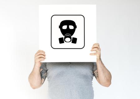 Radioactive risk hazard safety caution sign Stock Photo